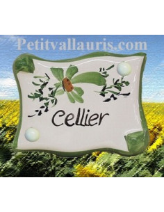 "Plaque de porte parchemin verte ""Cellier"""