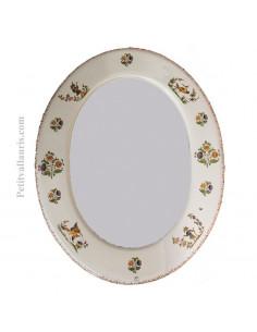 Miroir ovale décor Tradition Vieux Moustiers polychrome