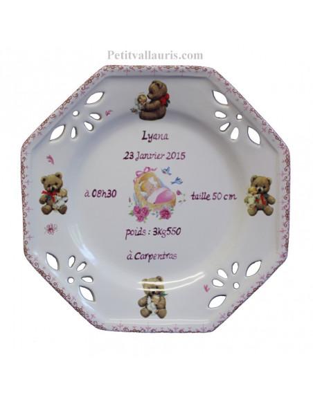 Assiette de naissance octogonale décor Ourson petit modèle fille