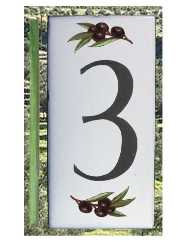 Numero de rue chiffre 3 décor brins d'olives
