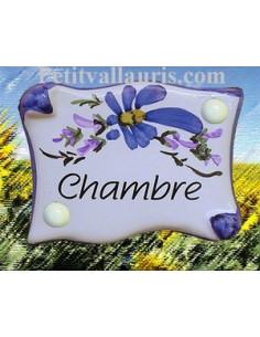 """Plaque de porte parchemin bleue """"Chambre"""""""