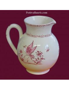 Pichet à eau 1 Litre décor Tradition Vieux Moustiers rose