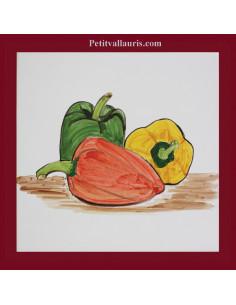 Carreau décor légumes poivrons 15 x 15 cm