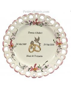 Assiette de Mariage modèle Tournesol décor fleurs roses inscription personnalisée rose