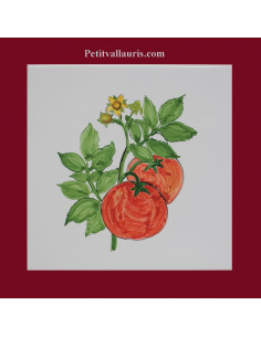 Carreau décor légumes les tomates en grappe 15 x 15 cm