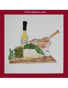 Carreau décor préparation Pesto 15 x 15 cm