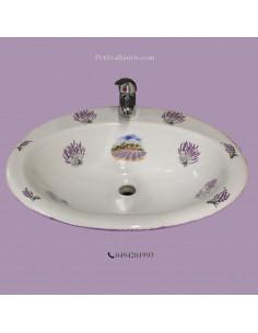 Vasque ovale à encastrer décor Provençal bouquets de lavande