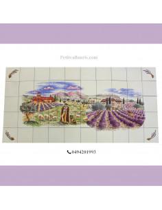 Fresque céramique rectangulaire décor berger et champs de lavande