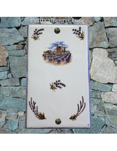 Plaque décorative rectangle décor moulin +champs et brins de lavandes aux angles pose verticale bord bleus