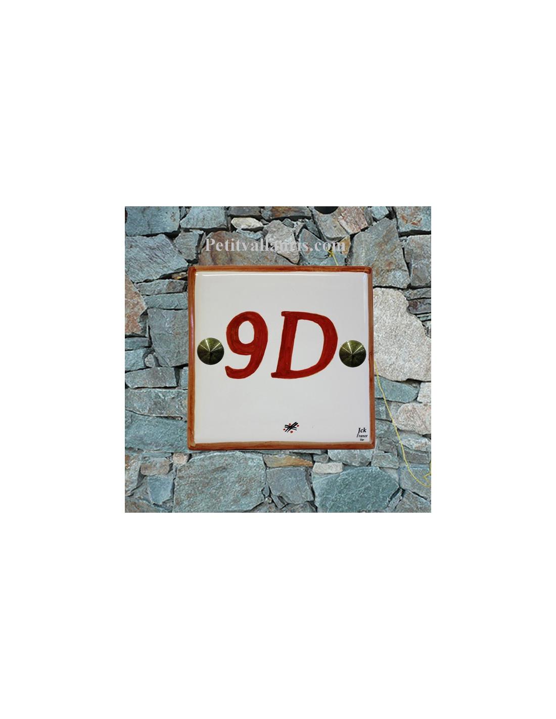 Num ro de maison artisanal en faience chiffre et bord for Numero de porte en faience