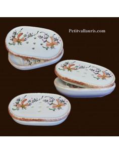 Porte savon à poser avec récupérateur décor fleurs beiges-saumon