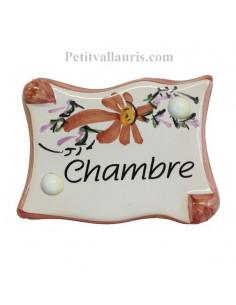 """Plaque de porte parchemin fleurs beige """"Chambre"""""""