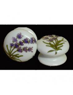 Bouton de tiroir meuble décor Brin de lavande (diamètre 35 mm)