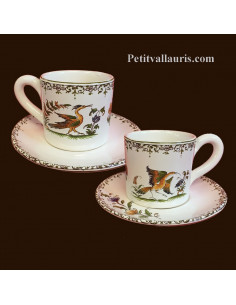Tasse à café et sous tasse décor Tradition Vieux Moustiers polychrome