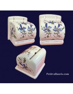 Dérouleur de papier toilette décor fleuri bleu