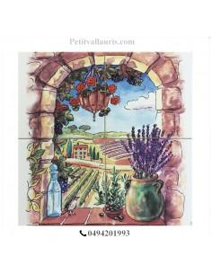 Fresque faïence Trompe L'oeil sur 4 carreaux 20 x 20 cm