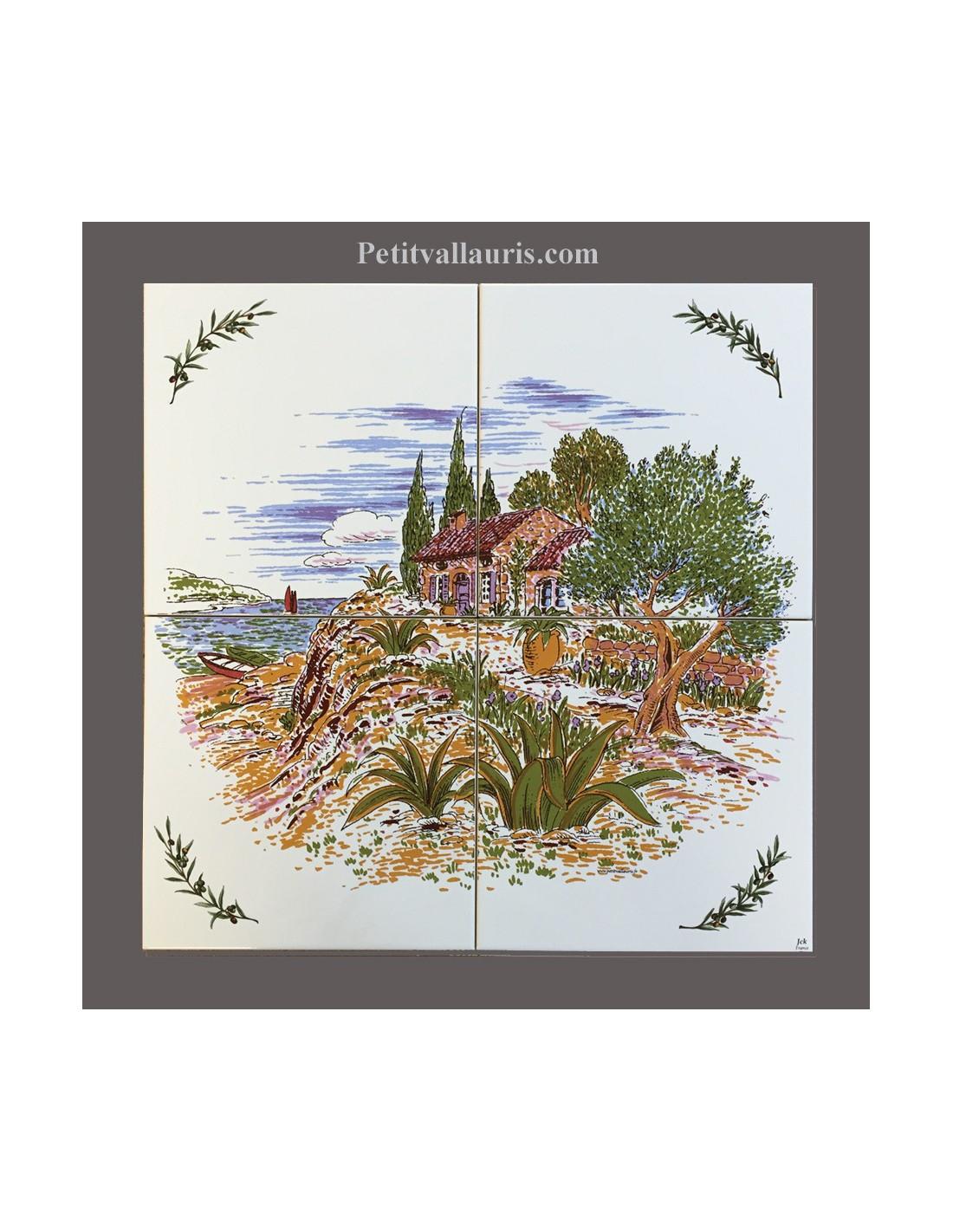 Paysage cabanon olivier sur 4 carreaux 20 x 20 cm  LE PETIT VALLAURIS