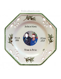 Assiette de Mariage modèle octogonale avec photo décor Olives