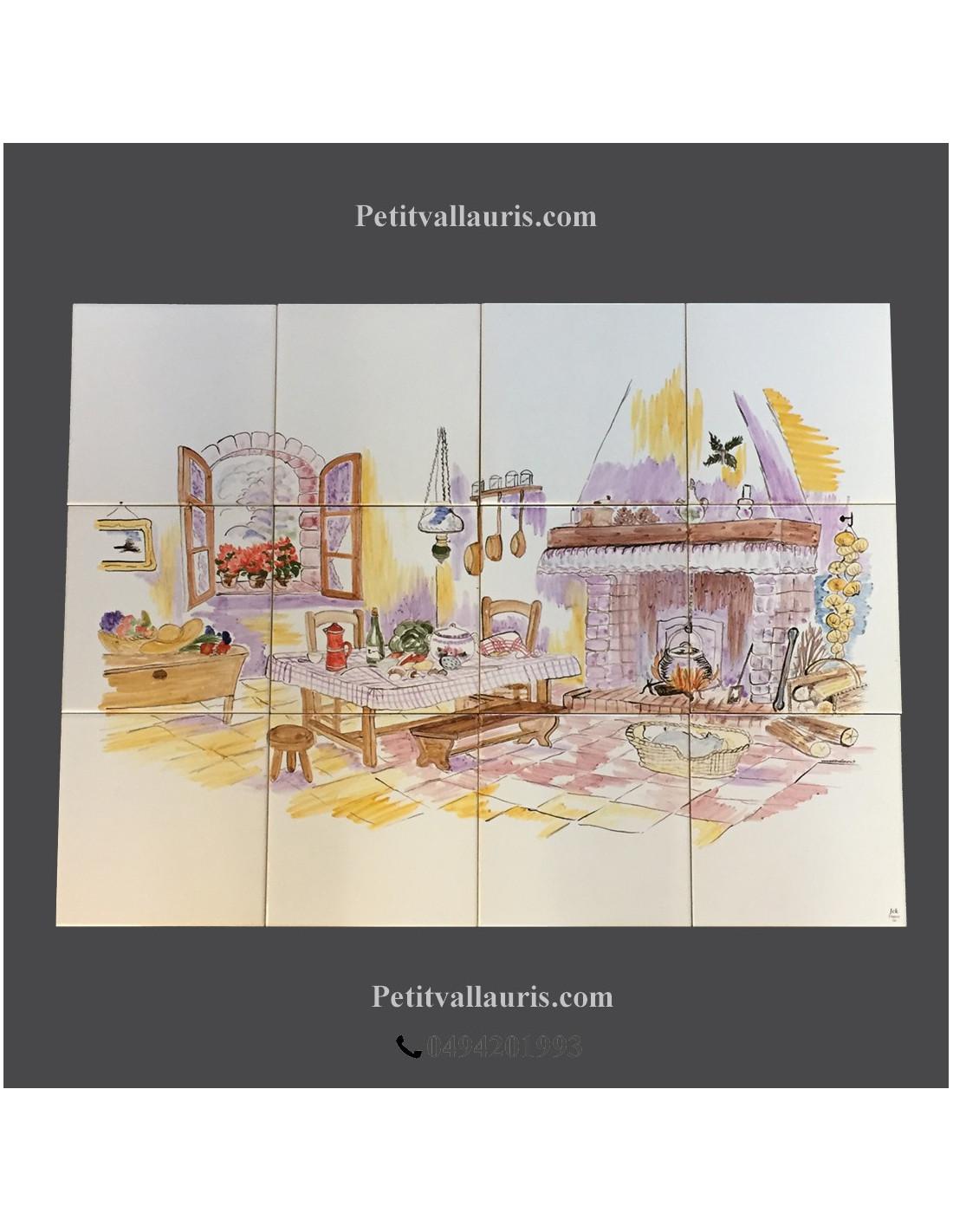 Fresque d cor chemin e et cuisine campagnarde 45 x 60 cm for Fresque murale cuisine