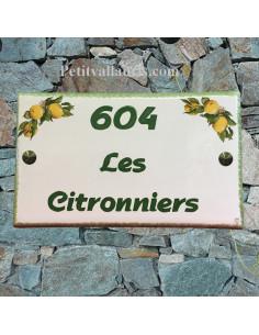 Plaque de Villa rectangle décor les citrons inscription personnalisée et bord vert