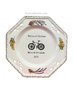 Assiette de Mariage octogonale décor la bicyclette