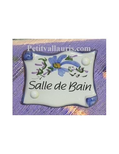 Plaque de porte parchemin bleue salle de bain le petit for Plaque salle de bain
