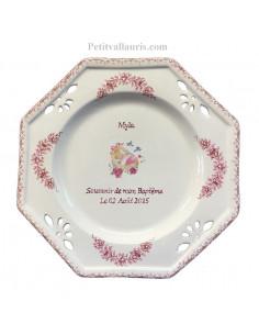 Assiette de baptème octogonale décor ange coloris rose