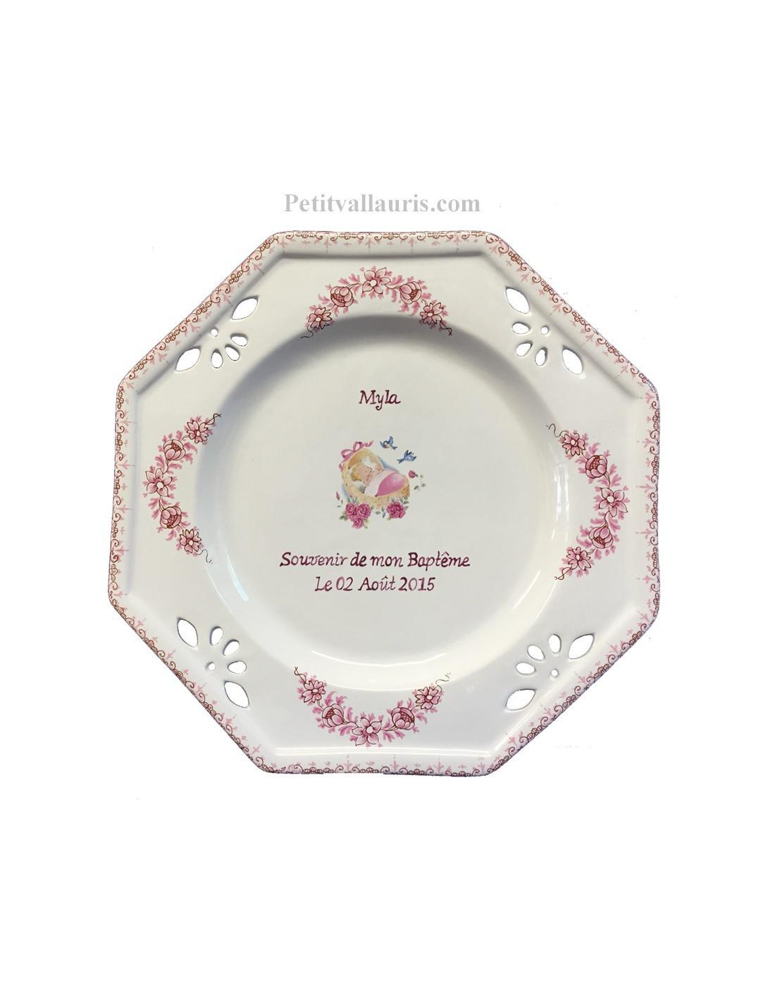 Assiette de bapt me octogonale d cor ange coloris rose for Assiette de decoration
