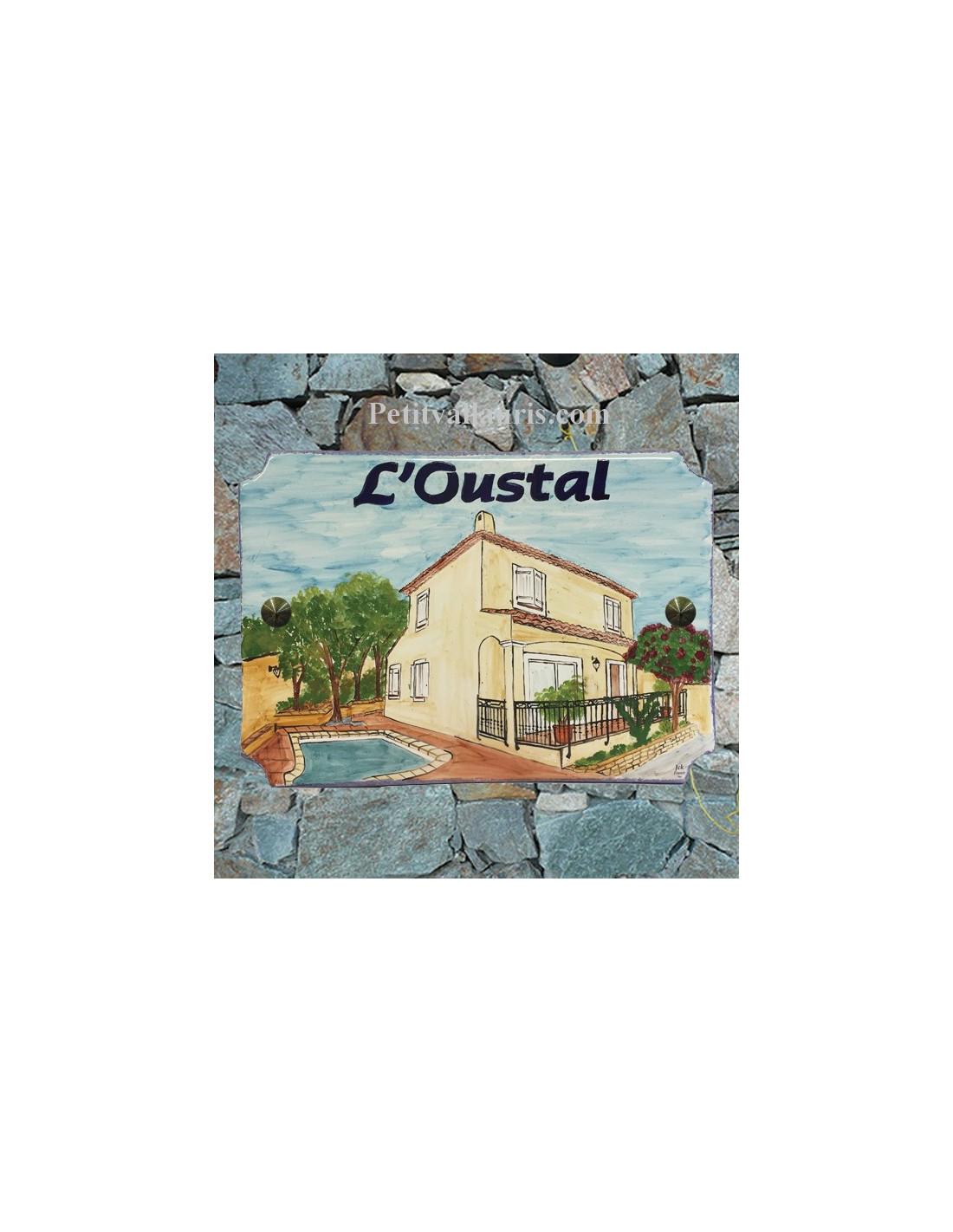 grande plaque de villa en faience maill e d cor d 39 apr s photo maison de client dans le var avec. Black Bedroom Furniture Sets. Home Design Ideas