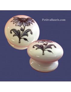 Bouton de tiroir meuble décor Tradition Vieux Moustiers bleu (diamètre 35 mm)