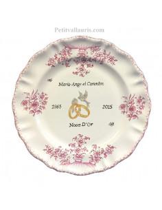 Assiette de mariage Louis XV tradition vieux moustiers rose