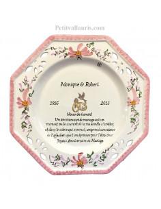 grande assiette anniversaire 60 ans de mariage mod le octogonale noces de diamant motifs fleurs. Black Bedroom Furniture Sets. Home Design Ideas