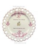 Assiette de Mariage modèle Tournesol rose inscription personnalisée rose