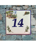 Numéro de Maison pose horizontale décor calanque chiffre bleu
