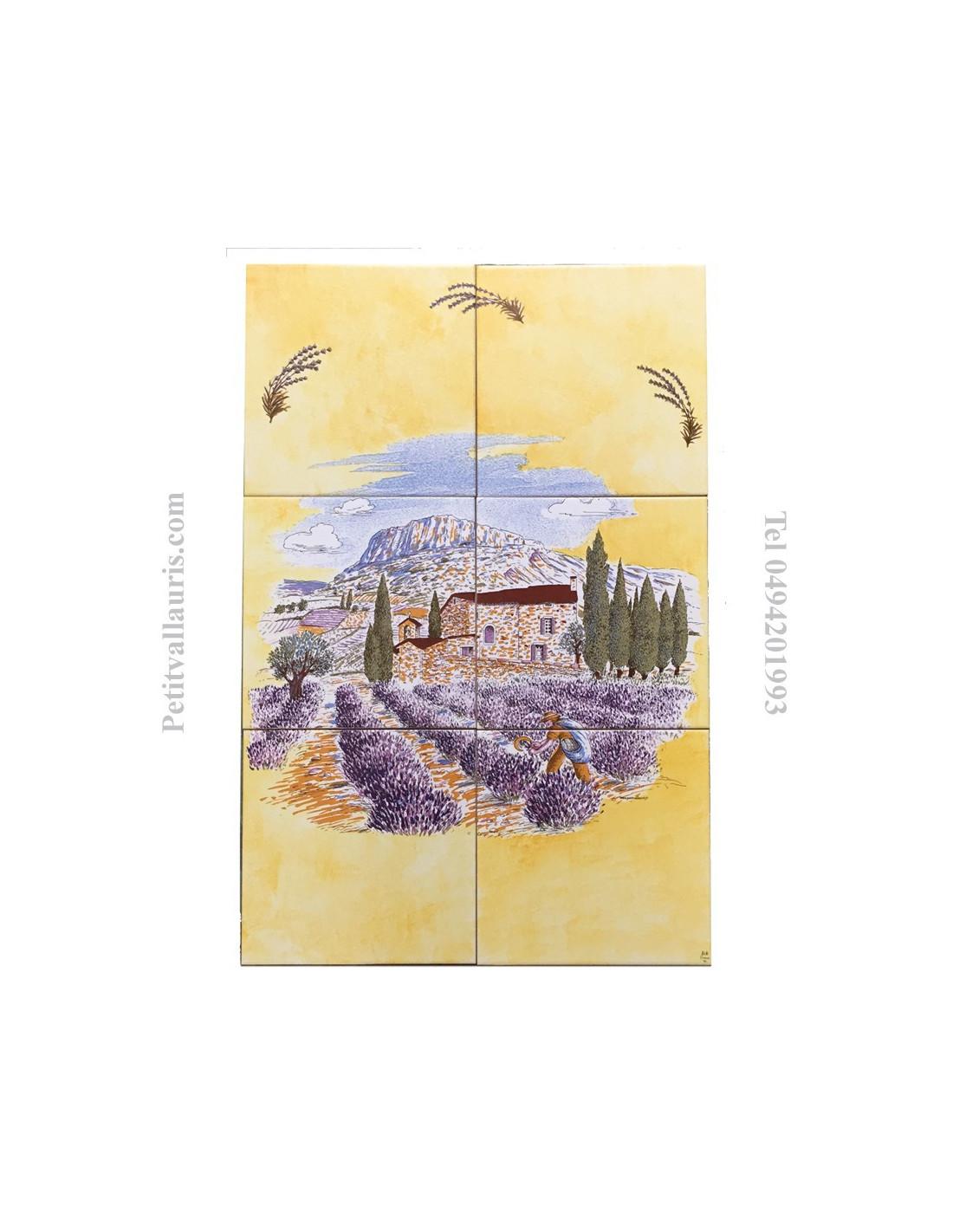 Fresque fa ence haute provence sur fond jaune et lavande for Le petit vallauris