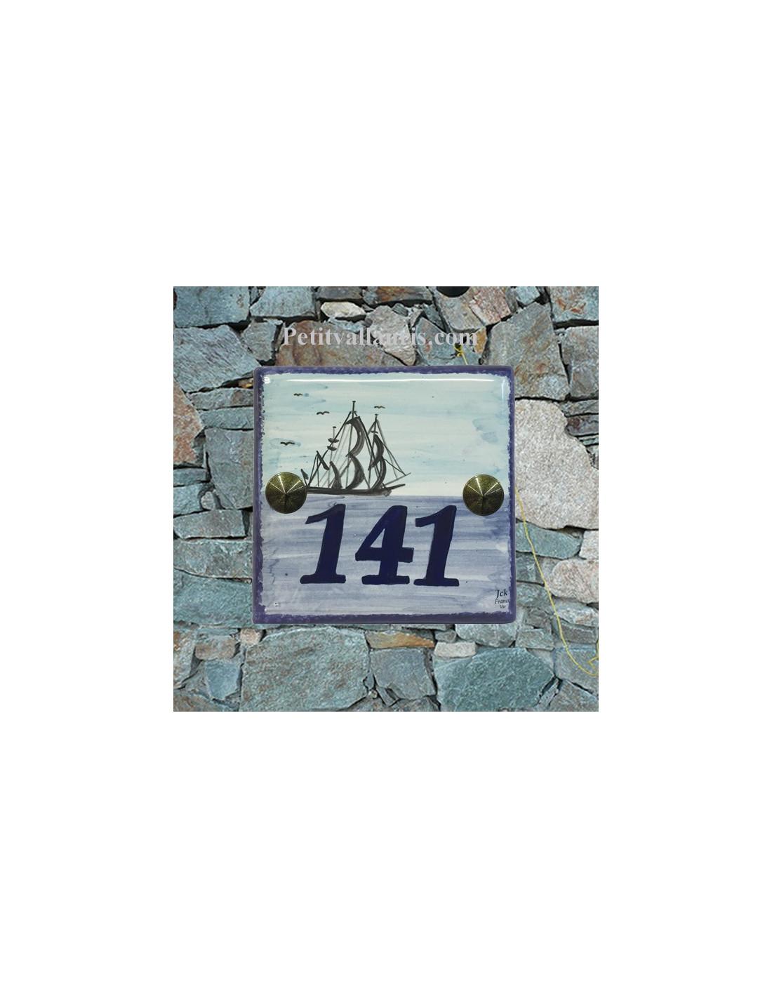 Num ro de maison en faience artisanale d cor grand voilier for Numero de porte en faience