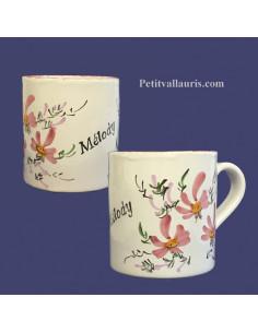 Chope - Mug décor décor fleurs roses personnalisé prénom