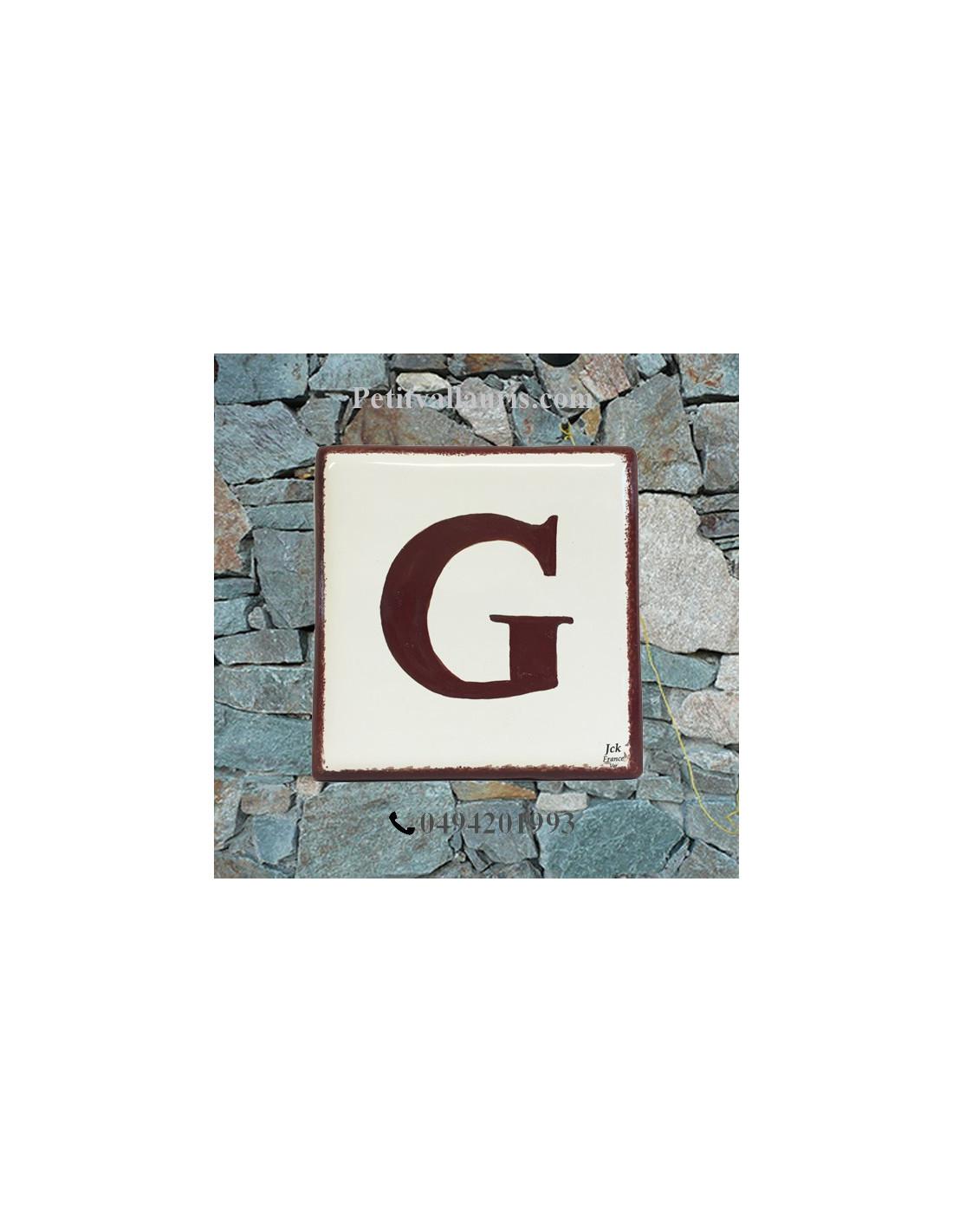 Num ro de maison en faience chiffre ou lettre et bord for Numero de porte en faience