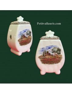 Pot de cheminée festonné décor motifs provençaux taille 2