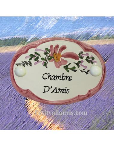 Plaque de porte ovale fleur rose chambre d 39 amis le petit vallauris - Chambre d amis ...