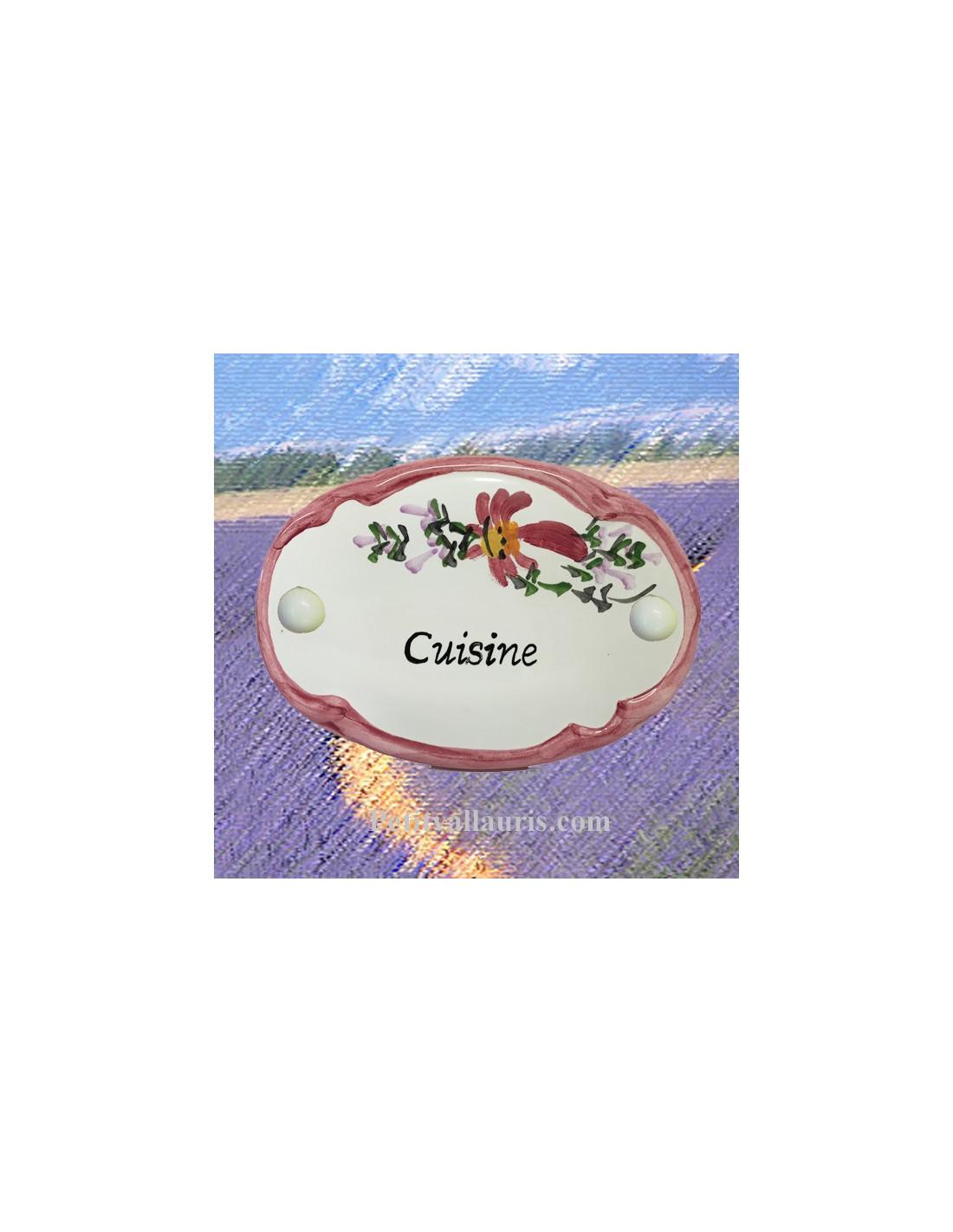 plaque de porte ovale fleur rose cuisine le petit vallauris. Black Bedroom Furniture Sets. Home Design Ideas