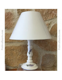 Lampe en faïence modèle chandelier décor brins de lavandes