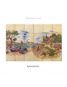 Fresque murale en faience décor bord de mer fond jaune ocre ou blanche 60 x40