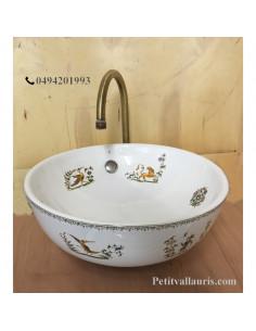 Vasque bol ronde en porcelaine décor tradition vieux moustiers
