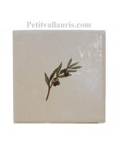 Carreau décor brin d' olivier 10 x 10 cm