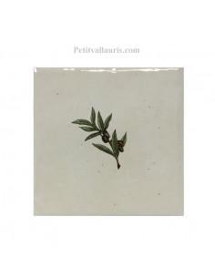 Carreau décor brin d' olivier 10 x 10 cm incliner gauche