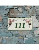 Plaque de maison faience émaillée fleurs roses inscription personnalisée verte