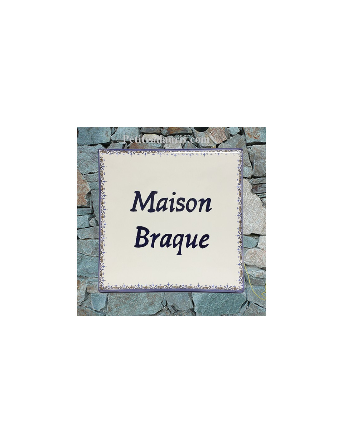 grande plaque de maison en c ramique mod le carr e bord bleu inscription personnalis e le. Black Bedroom Furniture Sets. Home Design Ideas