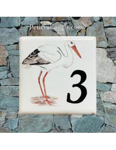 Numéro de Maison pose horizontale décor la cigogne