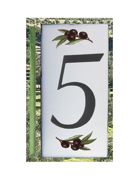 Numero de rue chiffre 5 décor brins d'olives